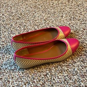 Banana Republic Pink Tweed Chevron Captoe Flats